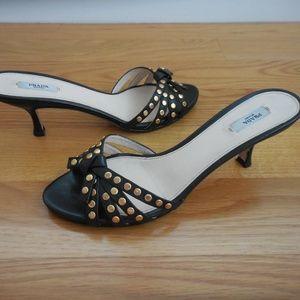$795~PRADA~Leather Strappy Gold Stud Sandals~8.5/9
